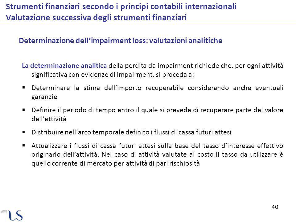 40 Strumenti finanziari secondo i principi contabili internazionali Valutazione successiva degli strumenti finanziari La determinazione analitica dell