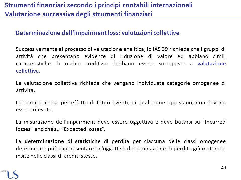 41 Strumenti finanziari secondo i principi contabili internazionali Valutazione successiva degli strumenti finanziari Determinazione dellimpairment lo