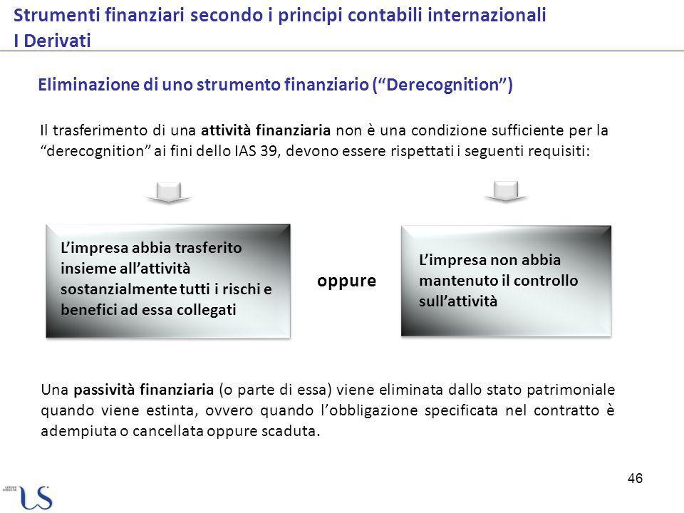 46 Strumenti finanziari secondo i principi contabili internazionali I Derivati Eliminazione di uno strumento finanziario (Derecognition) Il trasferime