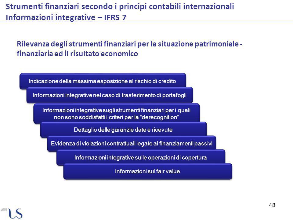 48 Strumenti finanziari secondo i principi contabili internazionali Informazioni integrative – IFRS 7 Rilevanza degli strumenti finanziari per la situ