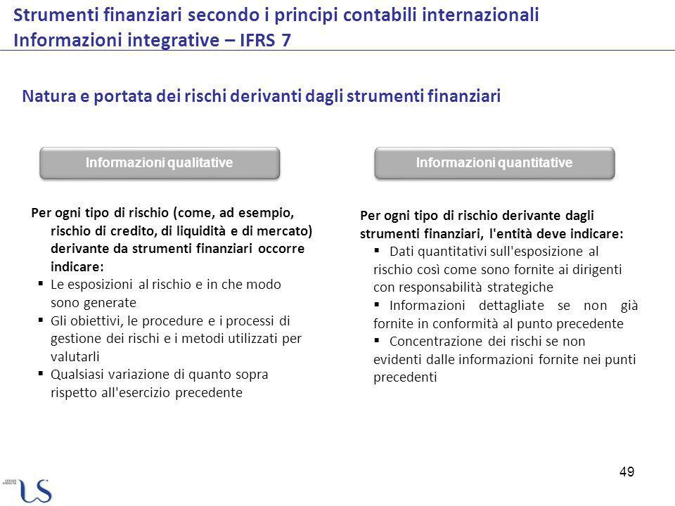 49 Strumenti finanziari secondo i principi contabili internazionali Informazioni integrative – IFRS 7 Natura e portata dei rischi derivanti dagli stru