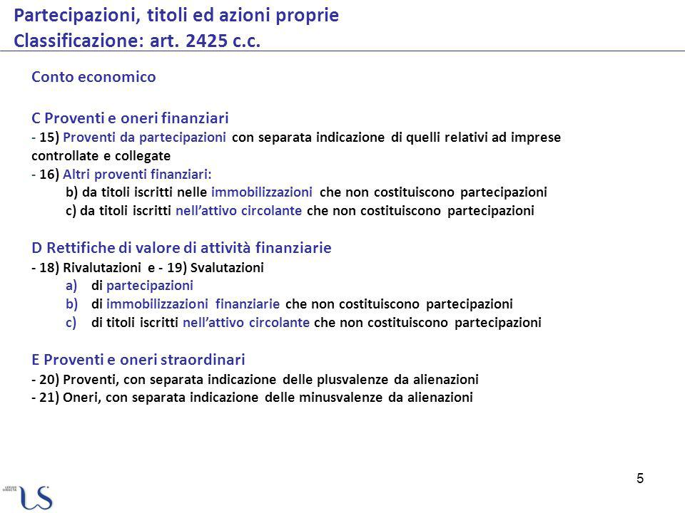 5 Partecipazioni, titoli ed azioni proprie Classificazione: art. 2425 c.c. Conto economico C Proventi e oneri finanziari - 15) Proventi da partecipazi