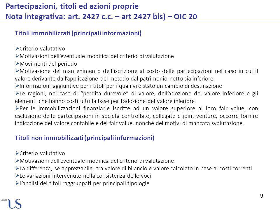 20 Strumenti finanziari derivati Informativa di bilancio PRINCIPI DI RIFERIMENTO RELATIVAMENTE ALLINFORMATIVA DA FORNIRE IN BILANCIO Art.