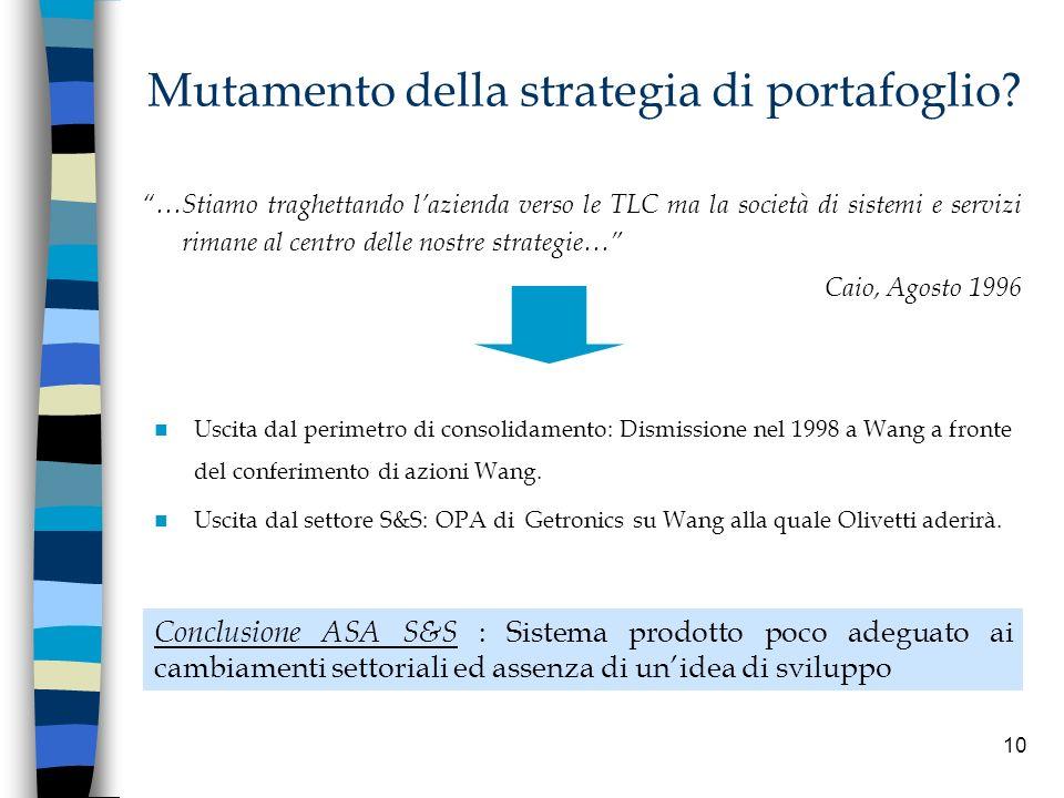 10 Mutamento della strategia di portafoglio? Uscita dal perimetro di consolidamento: Dismissione nel 1998 a Wang a fronte del conferimento di azioni W