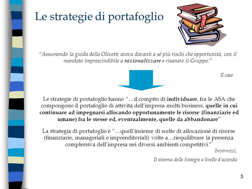 3 Le strategie di portafoglio Assumendo la guida della Olivetti aveva davanti a sé più rischi che opportunità, con il mandato imprescindibile a razion