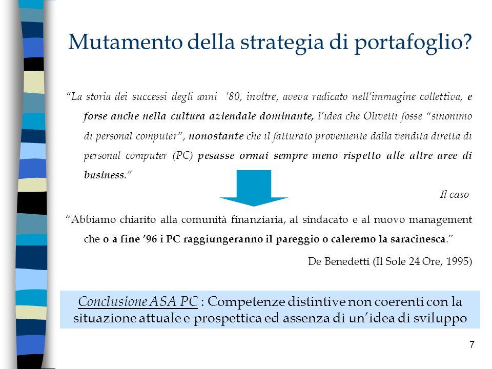 7 Mutamento della strategia di portafoglio? Abbiamo chiarito alla comunità finanziaria, al sindacato e al nuovo management che o a fine 96 i PC raggiu