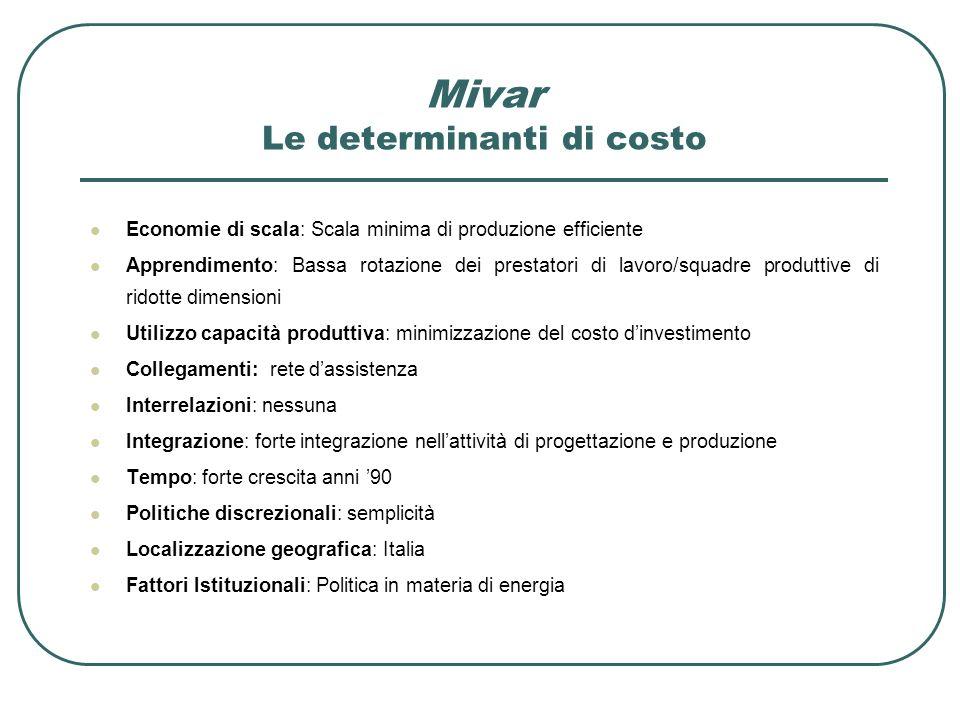 Economie di scala: Scala minima di produzione efficiente Apprendimento: Bassa rotazione dei prestatori di lavoro/squadre produttive di ridotte dimensi