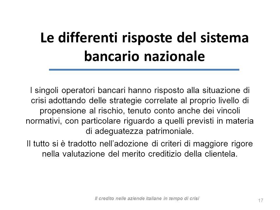 I singoli operatori bancari hanno risposto alla situazione di crisi adottando delle strategie correlate al proprio livello di propensione al rischio, tenuto conto anche dei vincoli normativi, con particolare riguardo a quelli previsti in materia di adeguatezza patrimoniale.
