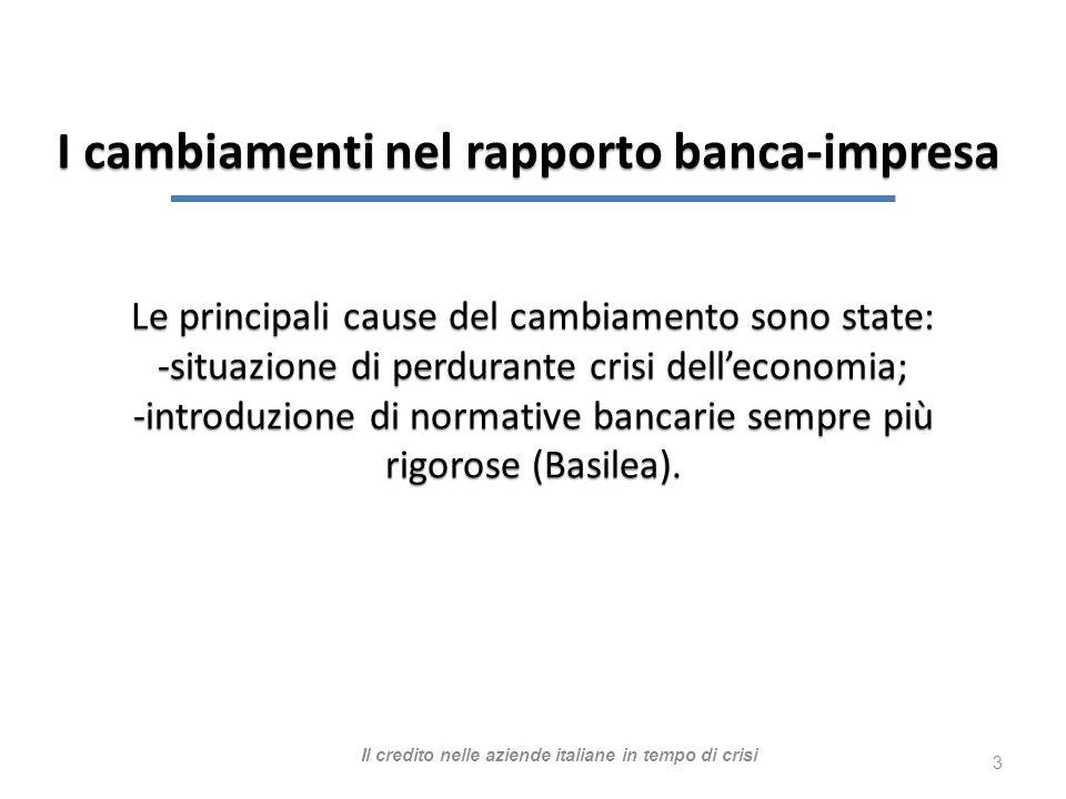 3 Le principali cause del cambiamento sono state: -situazione di perdurante crisi delleconomia; -introduzione di normative bancarie sempre più rigorose (Basilea).