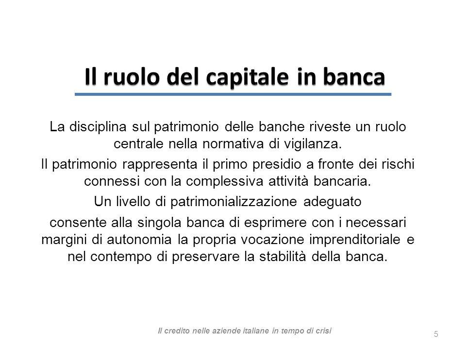 La disciplina sul patrimonio delle banche riveste un ruolo centrale nella normativa di vigilanza.