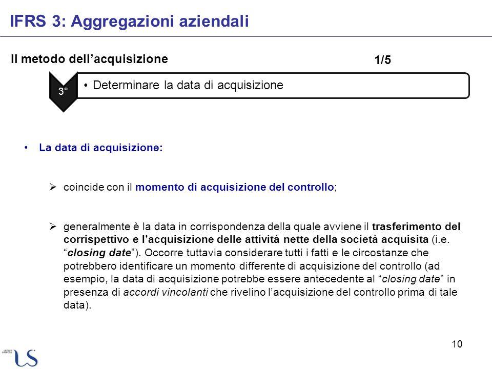 10 Il metodo dellacquisizione IFRS 3: Aggregazioni aziendali 3° Determinare la data di acquisizione La data di acquisizione: coincide con il momento d