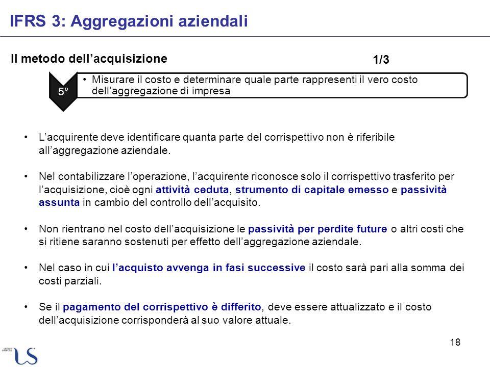 18 Il metodo dellacquisizione IFRS 3: Aggregazioni aziendali 5° Misurare il costo e determinare quale parte rappresenti il vero costo dellaggregazione