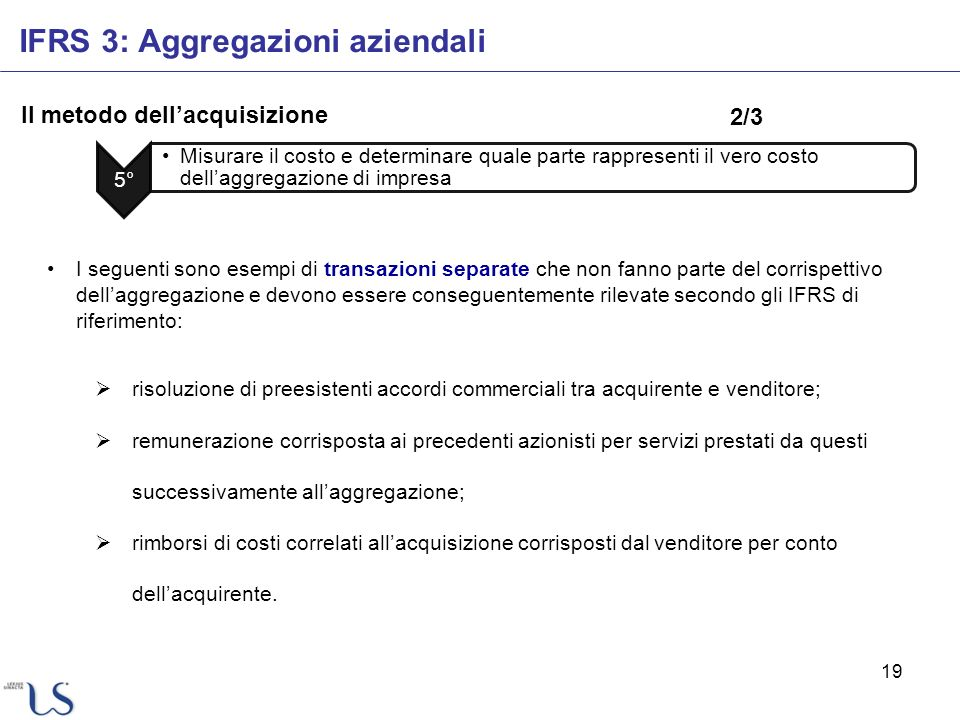 19 Il metodo dellacquisizione IFRS 3: Aggregazioni aziendali 5° Misurare il costo e determinare quale parte rappresenti il vero costo dellaggregazione