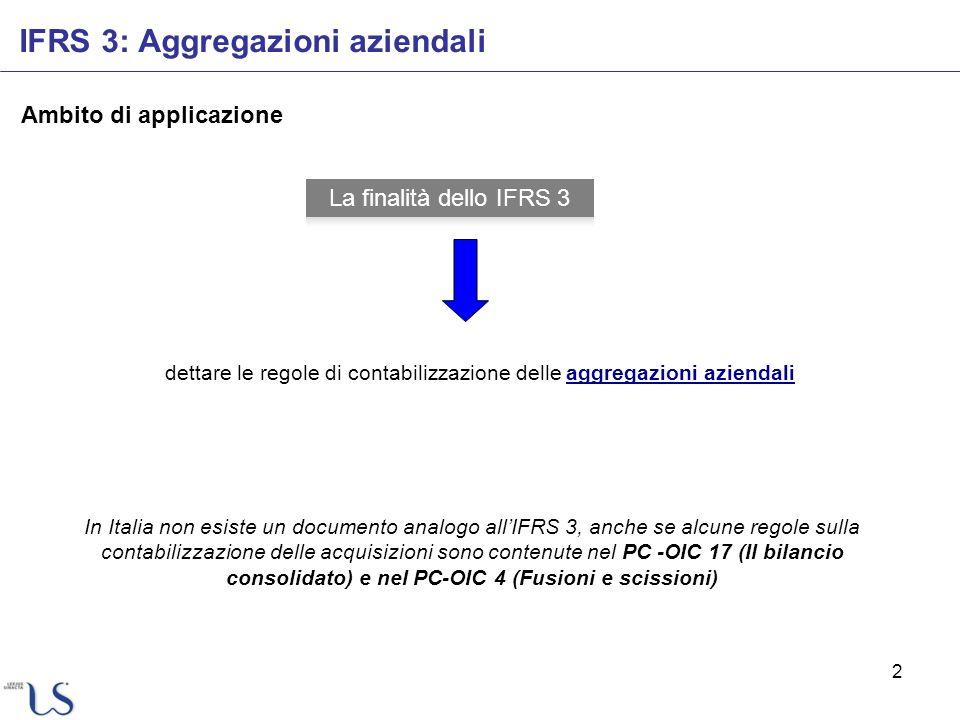 2 IFRS 3: Aggregazioni aziendali Ambito di applicazione dettare le regole di contabilizzazione delle aggregazioni aziendali In Italia non esiste un do