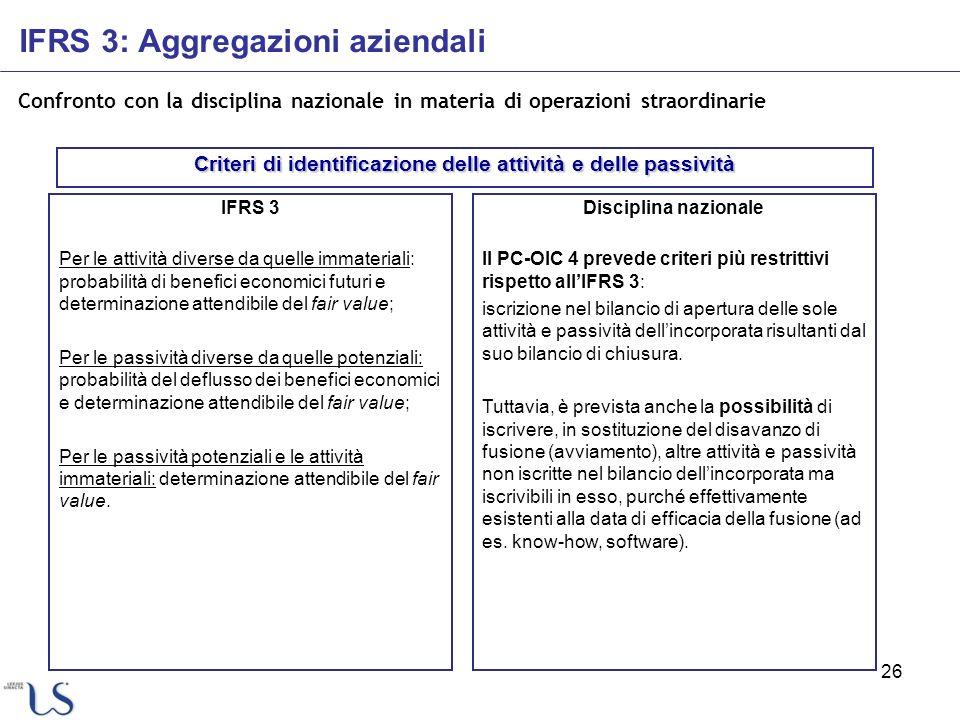 26 Confronto con la disciplina nazionale in materia di operazioni straordinarie IFRS 3 Per le attività diverse da quelle immateriali: probabilità di b