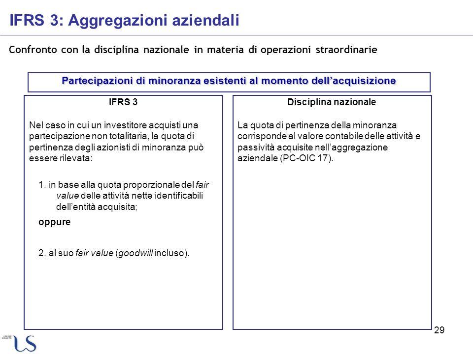 29 Confronto con la disciplina nazionale in materia di operazioni straordinarie IFRS 3 Nel caso in cui un investitore acquisti una partecipazione non