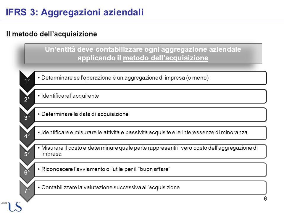 6 Il metodo dellacquisizione IFRS 3: Aggregazioni aziendali Unentità deve contabilizzare ogni aggregazione aziendale applicando il metodo dellacquisiz