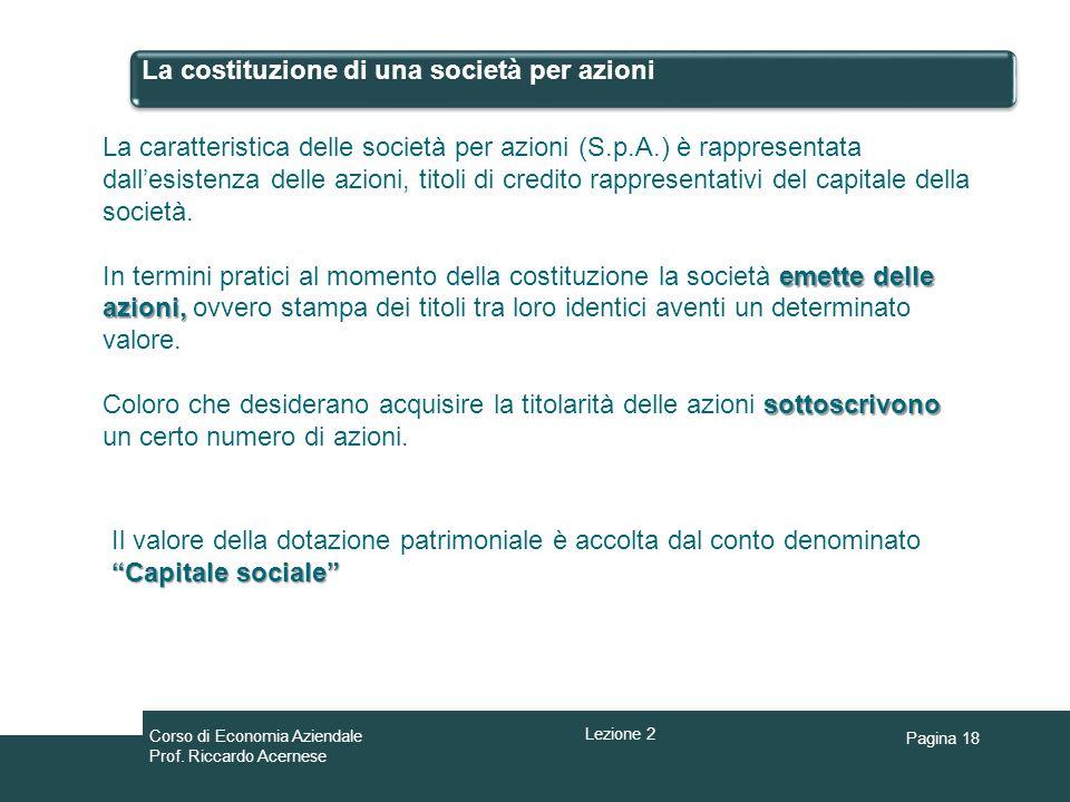 Pagina 18 La costituzione di una società per azioni La caratteristica delle società per azioni (S.p.A.) è rappresentata dallesistenza delle azioni, ti