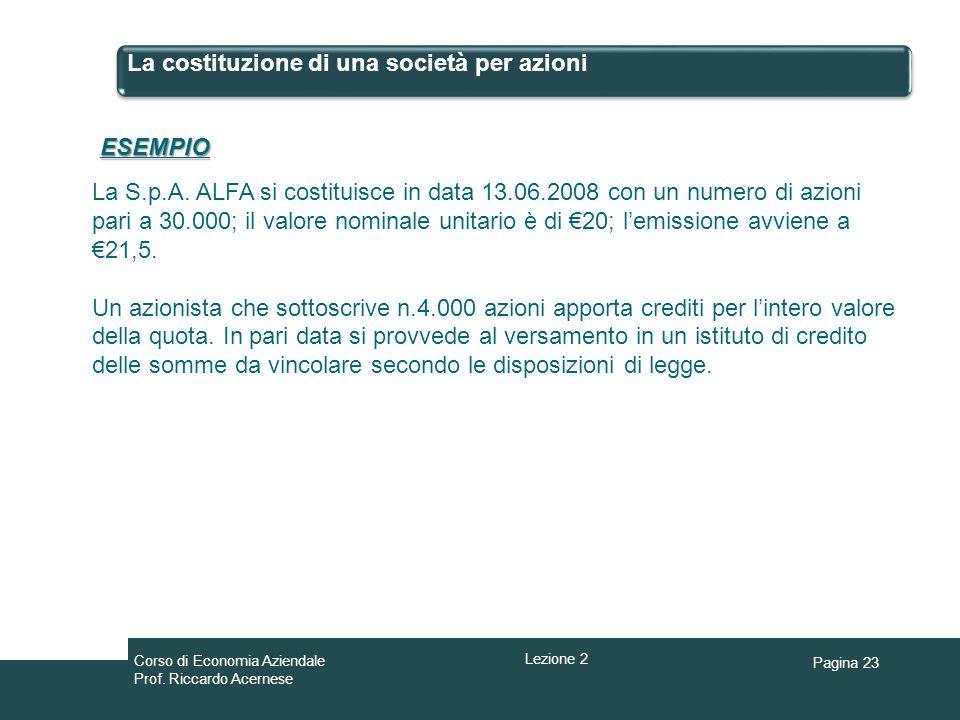 Pagina 23 La costituzione di una società per azioni ESEMPIO La S.p.A. ALFA si costituisce in data 13.06.2008 con un numero di azioni pari a 30.000; il