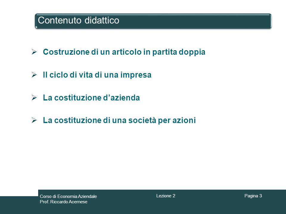 Contenuto didattico Pagina 3 Costruzione di un articolo in partita doppia Il ciclo di vita di una impresa La costituzione dazienda La costituzione di