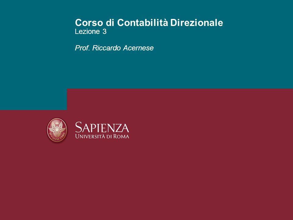 Fare clic per modificare lo stile del sottotitolo dello schema Lezione 3 Corso di Contabilità Direzionale Prof.