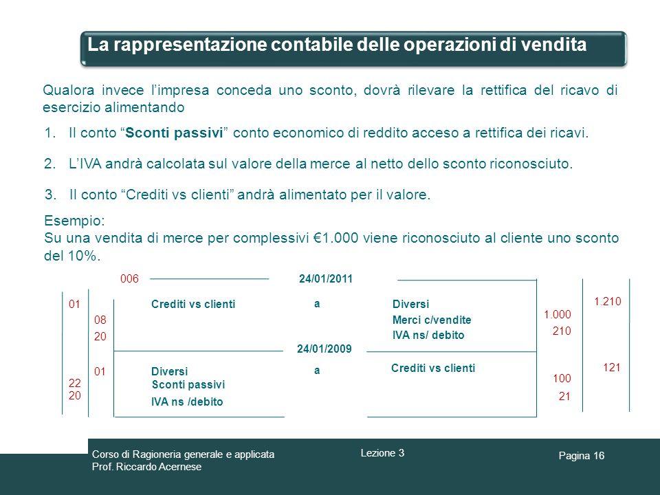 Pagina 16 La rappresentazione contabile delle operazioni di vendita Qualora invece limpresa conceda uno sconto, dovrà rilevare la rettifica del ricavo