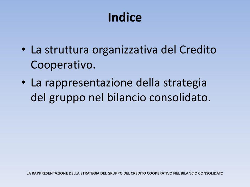 La struttura organizzativa del Credito Cooperativo. La rappresentazione della strategia del gruppo nel bilancio consolidato. Indice LA RAPPRESENTAZION
