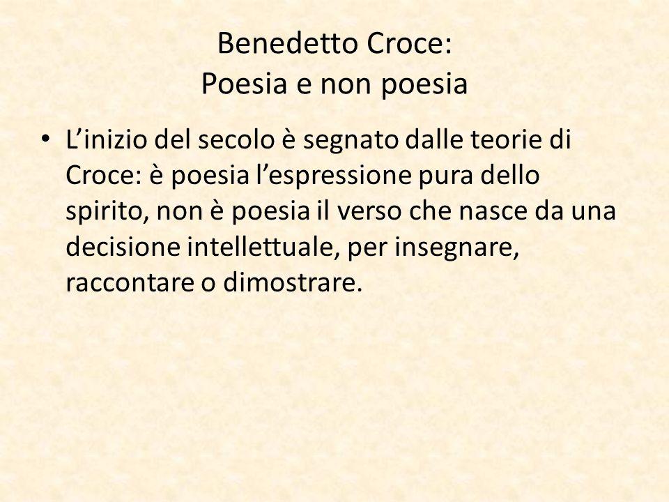 Benedetto Croce: Poesia e non poesia Linizio del secolo è segnato dalle teorie di Croce: è poesia lespressione pura dello spirito, non è poesia il ver