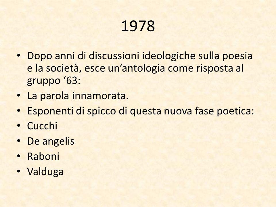1978 Dopo anni di discussioni ideologiche sulla poesia e la società, esce unantologia come risposta al gruppo 63: La parola innamorata. Esponenti di s