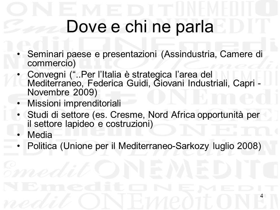 4 Dove e chi ne parla Seminari paese e presentazioni (Assindustria, Camere di commercio) Convegni (..Per lItalia è strategica larea del Mediterraneo,