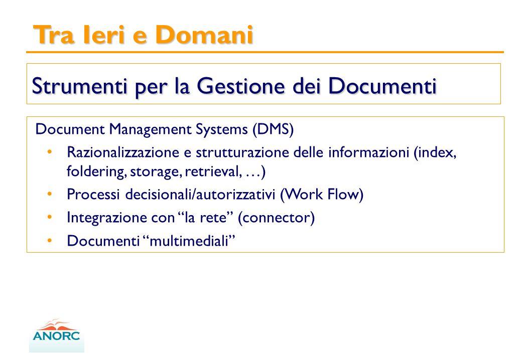 Tra Ieri e Domani Strumenti per la Gestione dei Documenti Document Management Systems (DMS) Razionalizzazione e strutturazione delle informazioni (index, foldering, storage, retrieval, …) Processi decisionali/autorizzativi (Work Flow) Integrazione con la rete (connector) Documenti multimediali
