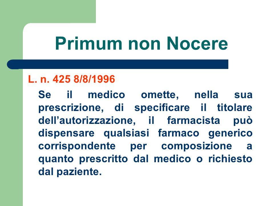 Primum non Nocere L. n. 425 8/8/1996 Se il medico omette, nella sua prescrizione, di specificare il titolare dellautorizzazione, il farmacista può dis