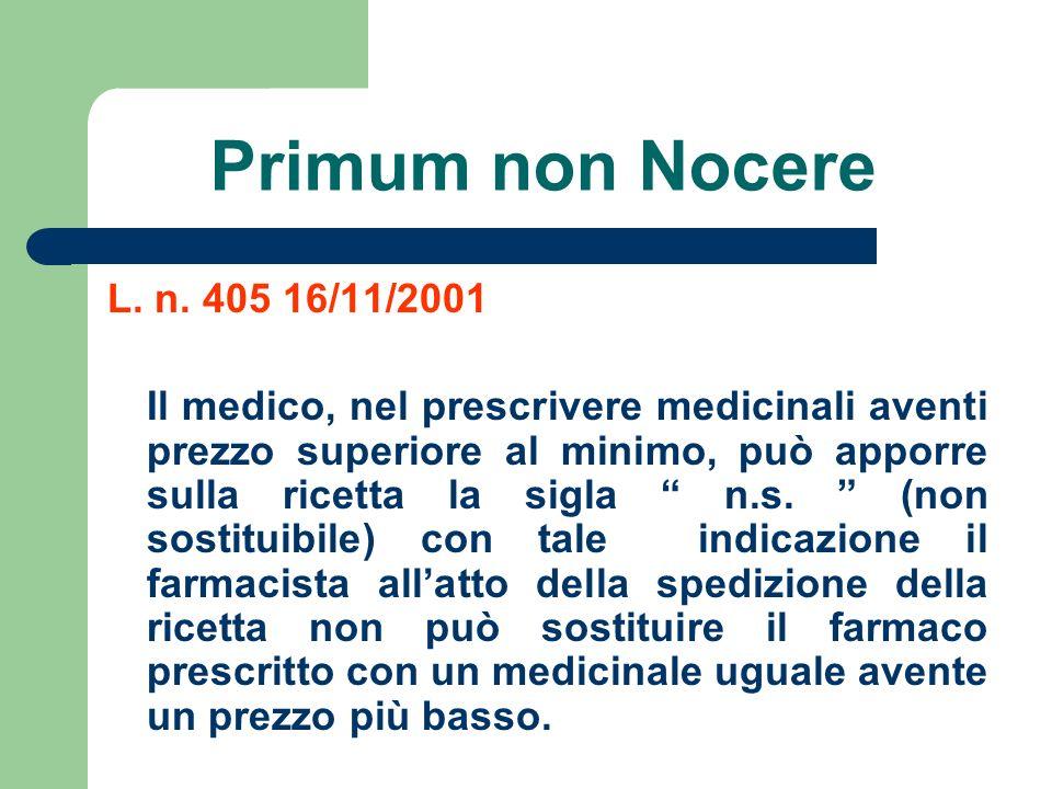 Primum non Nocere L. n. 405 16/11/2001 Il medico, nel prescrivere medicinali aventi prezzo superiore al minimo, può apporre sulla ricetta la sigla n.s