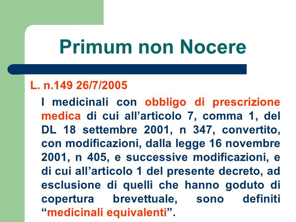 Primum non Nocere L. n.149 26/7/2005 I medicinali con obbligo di prescrizione medica di cui allarticolo 7, comma 1, del DL 18 settembre 2001, n 347, c