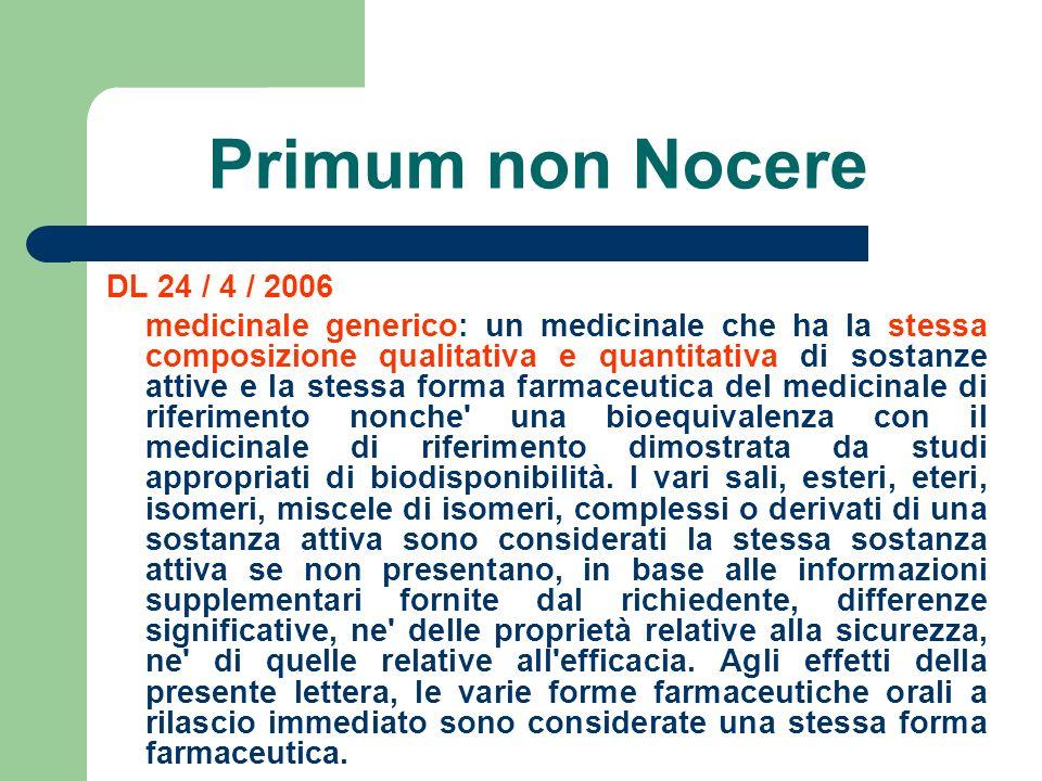Primum non Nocere DL 24 / 4 / 2006 medicinale generico: un medicinale che ha la stessa composizione qualitativa e quantitativa di sostanze attive e la