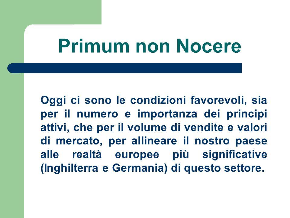 Primum non Nocere Oggi ci sono le condizioni favorevoli, sia per il numero e importanza dei principi attivi, che per il volume di vendite e valori di