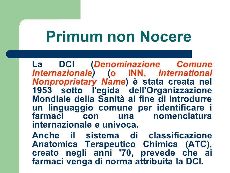 Primum non Nocere La DCI (Denominazione Comune Internazionale) (o INN, International Nonproprietary Name) è stata creata nel 1953 sotto l'egida dell'O