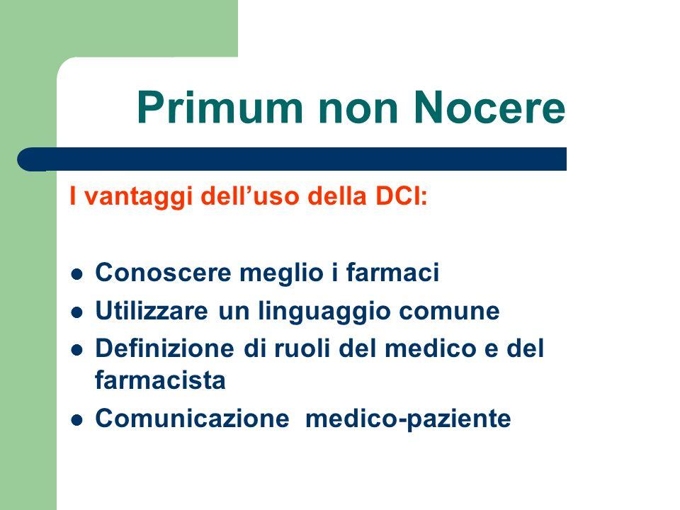Primum non Nocere I vantaggi delluso della DCI: Conoscere meglio i farmaci Utilizzare un linguaggio comune Definizione di ruoli del medico e del farma
