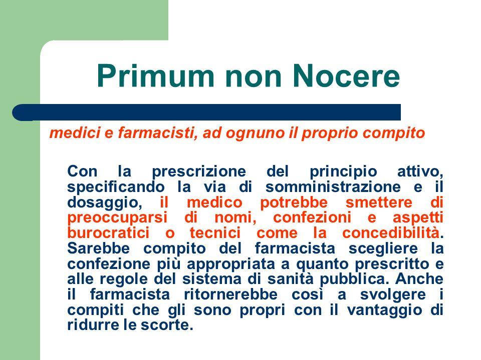 Primum non Nocere medici e farmacisti, ad ognuno il proprio compito Con la prescrizione del principio attivo, specificando la via di somministrazione