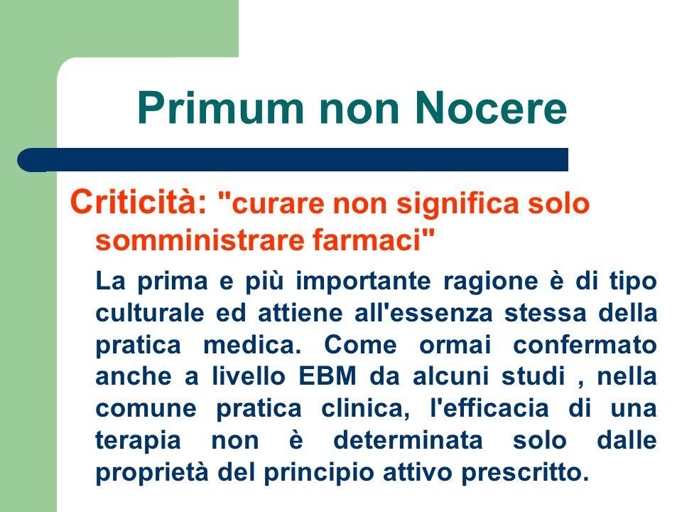 Primum non Nocere Criticità: