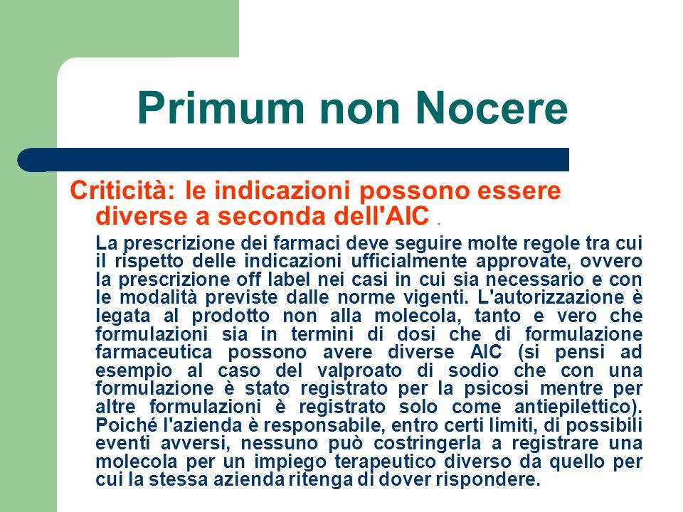 Primum non Nocere Criticità: le indicazioni possono essere diverse a seconda dell'AIC. La prescrizione dei farmaci deve seguire molte regole tra cui i