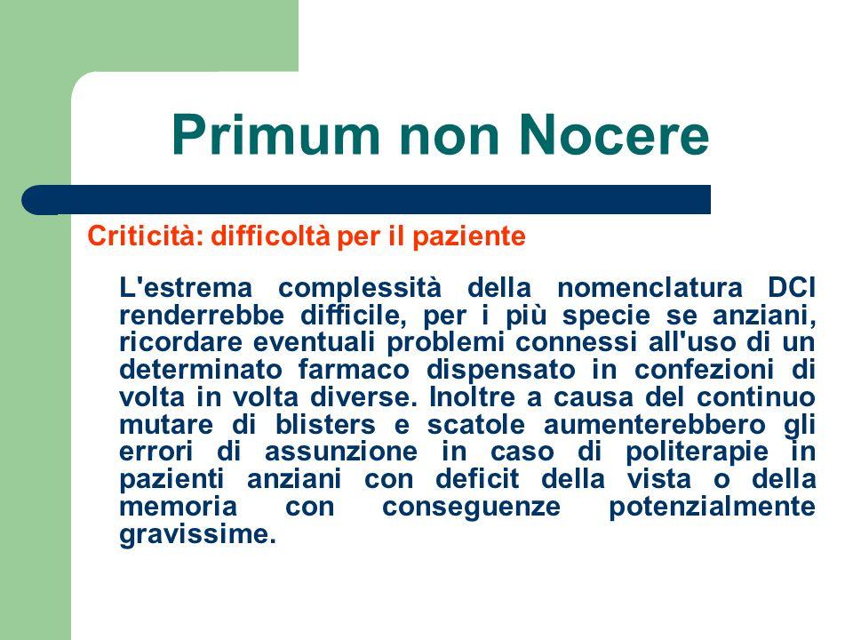 Primum non Nocere Criticità: difficoltà per il paziente L'estrema complessità della nomenclatura DCI renderrebbe difficile, per i più specie se anzian