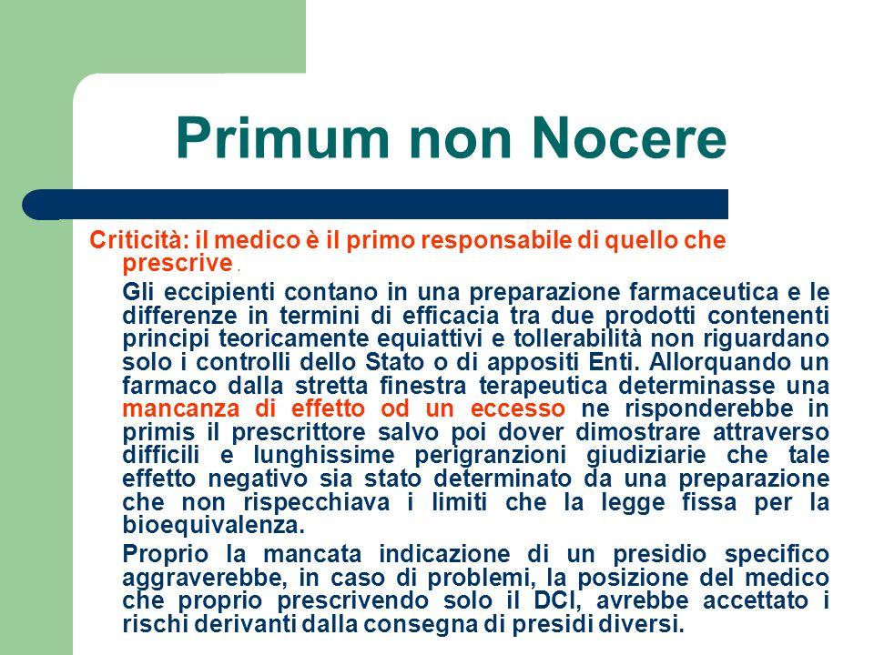Primum non Nocere Criticità: il medico è il primo responsabile di quello che prescrive. Gli eccipienti contano in una preparazione farmaceutica e le d