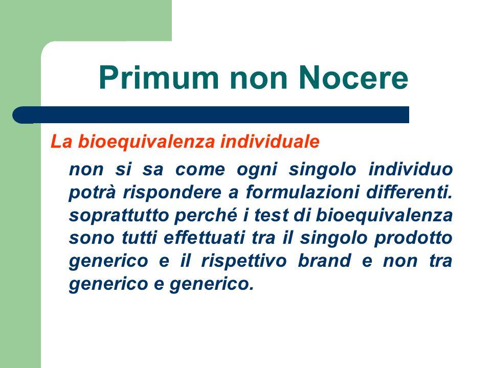 Primum non Nocere La bioequivalenza individuale non si sa come ogni singolo individuo potrà rispondere a formulazioni differenti. soprattutto perché i