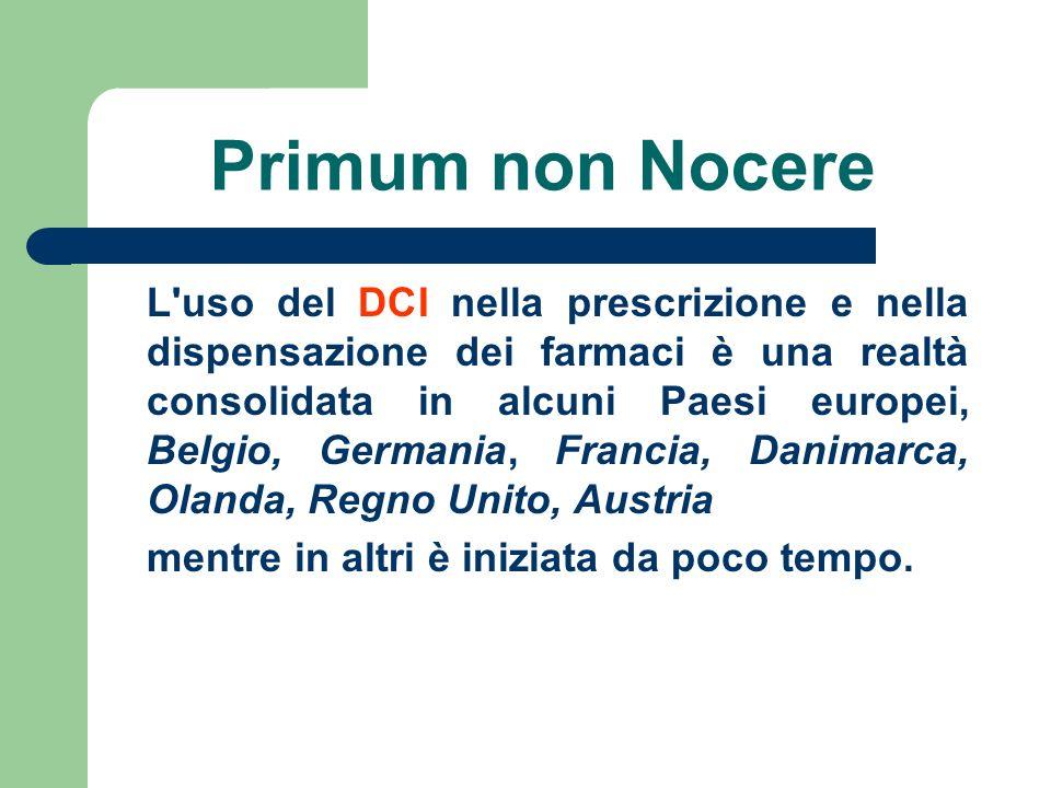 Primum non Nocere L'uso del DCI nella prescrizione e nella dispensazione dei farmaci è una realtà consolidata in alcuni Paesi europei, Belgio, Germani