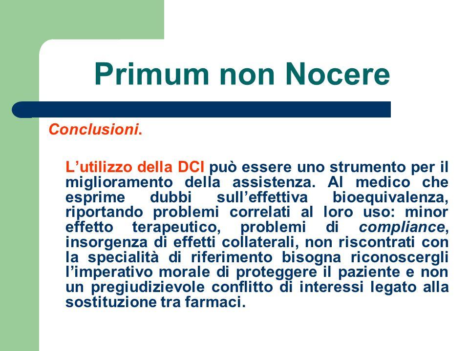 Primum non Nocere Conclusioni. Lutilizzo della DCI può essere uno strumento per il miglioramento della assistenza. Al medico che esprime dubbi sulleff