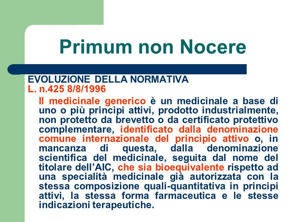 Primum non Nocere EVOLUZIONE DELLA NORMATIVA L. n.425 8/8/1996 Il medicinale generico è un medicinale a base di uno o più principi attivi, prodotto in