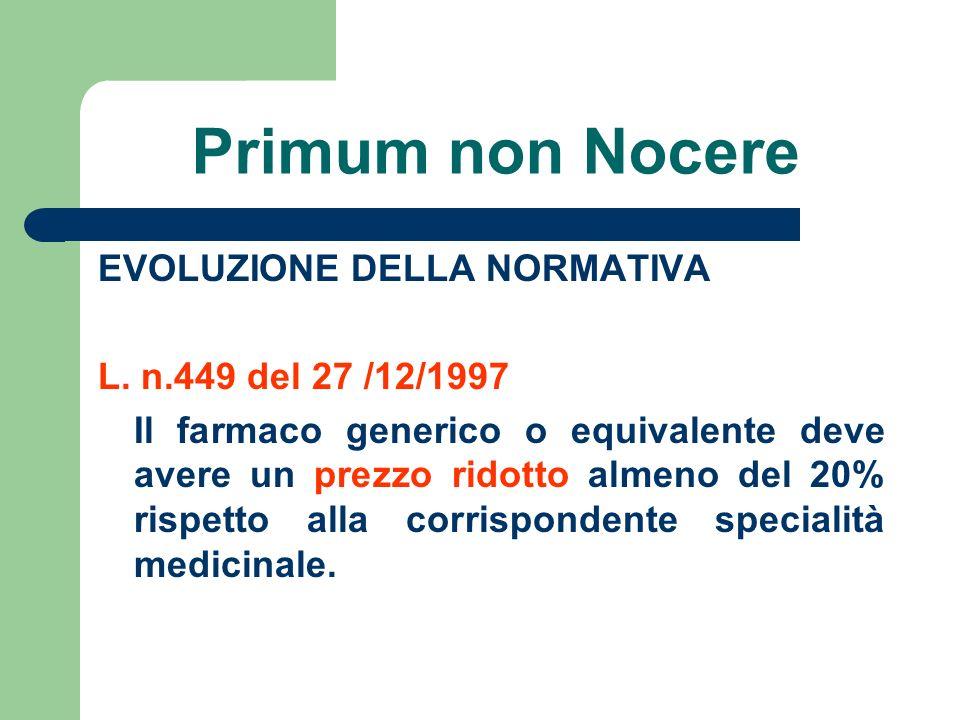 Primum non Nocere EVOLUZIONE DELLA NORMATIVA L. n.449 del 27 /12/1997 Il farmaco generico o equivalente deve avere un prezzo ridotto almeno del 20% ri
