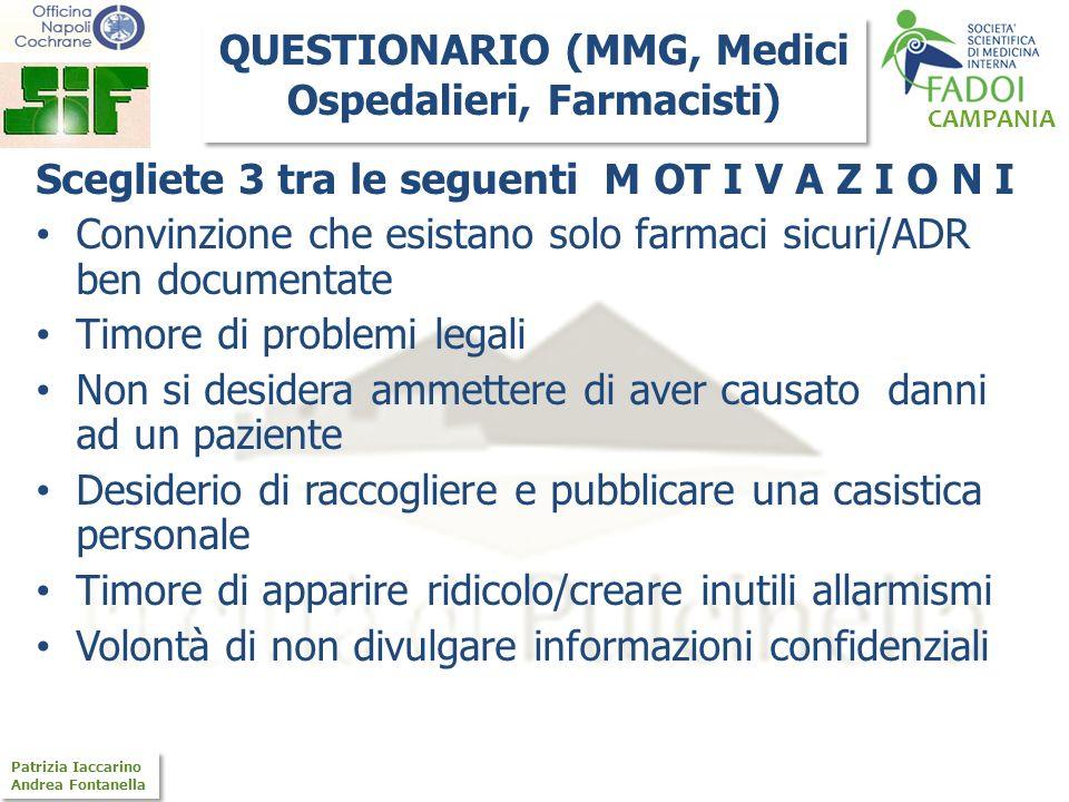 CAMPANIA Patrizia Iaccarino Andrea Fontanella Patrizia Iaccarino Andrea Fontanella Scegliete 3 tra le seguenti M OT I V A Z I O N I Convinzione che es