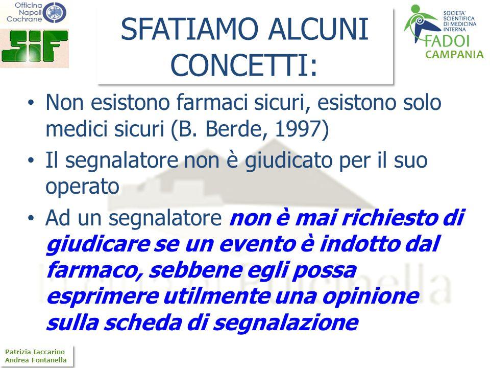 CAMPANIA Patrizia Iaccarino Andrea Fontanella Patrizia Iaccarino Andrea Fontanella SFATIAMO ALCUNI CONCETTI: Non esistono farmaci sicuri, esistono sol